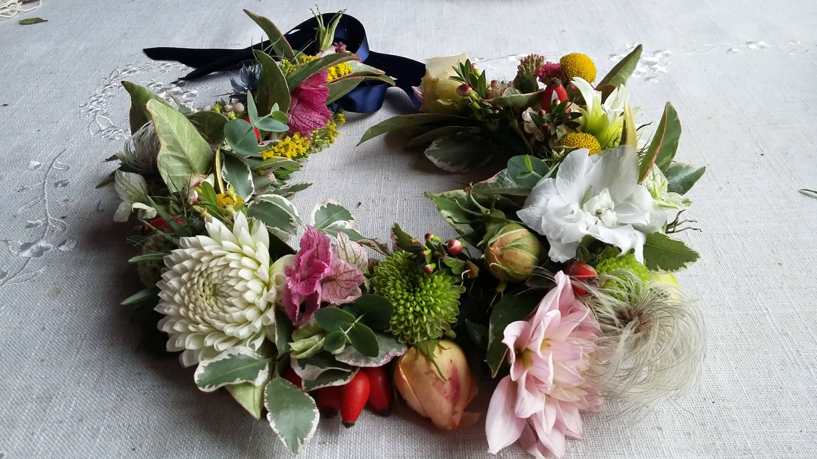 Flower crown from Somerset Cut Flower Garden